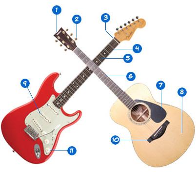 آشنائی با ساختمان گیتار